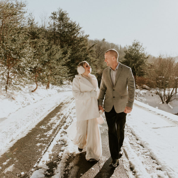 Snowy + Intimate Asheville Elopement