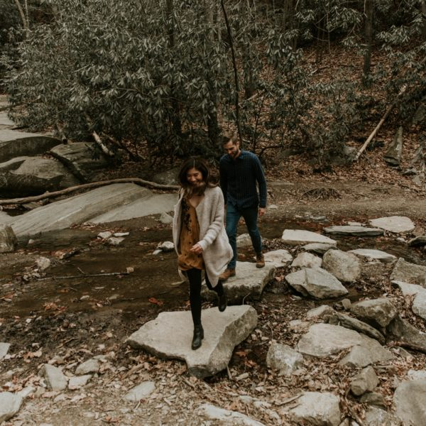 Catawba Falls Adventurous Engagement Session